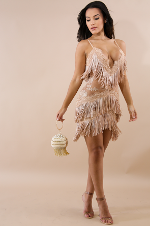 Fringe Swing Body-Con Dress