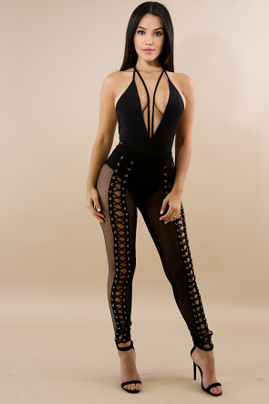 Sheer Lace Up Net Legging