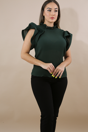 Sheer Pleated Swirl Top
