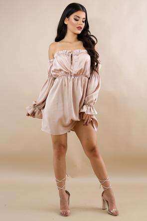 Silk Pleated Flare Dress