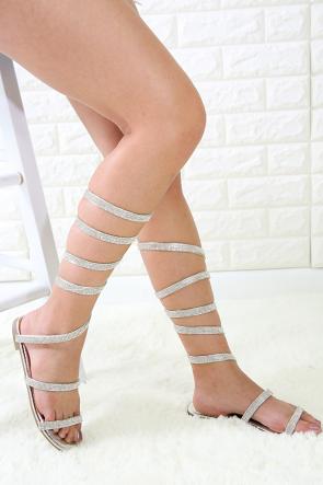 Rhinestone Coiled Ankle Wrap Flat Sandal