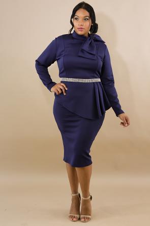 Long Sleeve Bow Embellished Peplum Midi Dress