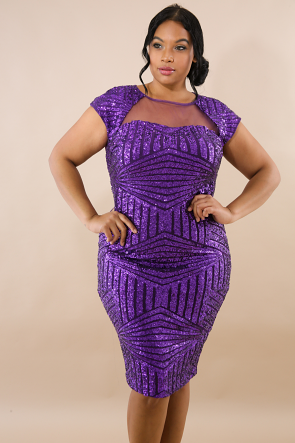 Midi Sheer Sequin Dress