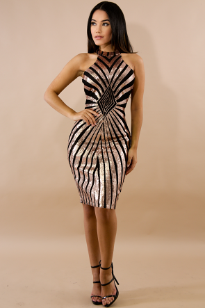 Sequin Drazzel Body-Con Dress