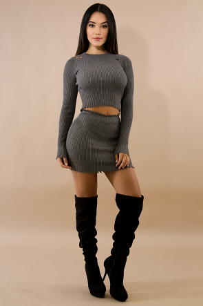 Distressed Rib Knit Mini Skirt Set