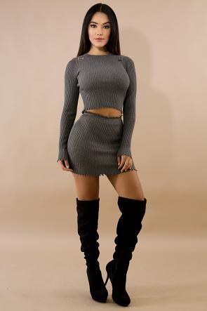 Distressed Rib Knit Mini Skirt Set