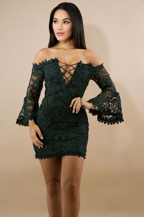 Corset Floral Crochet Body-Con Dress