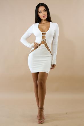 Slash Rhinestone Body-Con Dress
