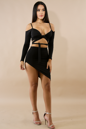 Wrap Edge Skirt Set