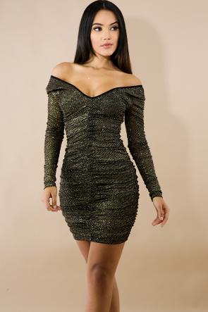Glitter Scrunch Body-Con Dress