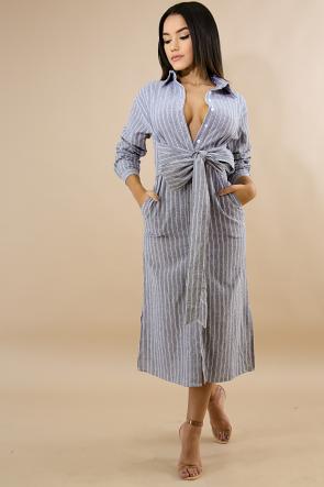 Striped Collard Tie Dress