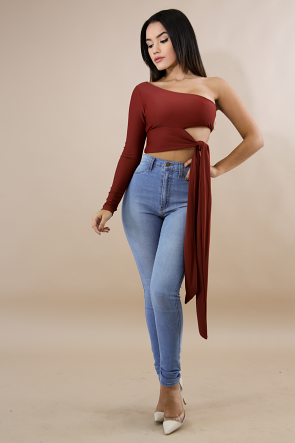 One Shoulder Wrap Crop Top