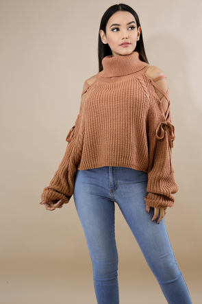 Cowl Neck Sweater Crop Top