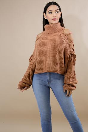 Cowl Neck Sweater Crop Top