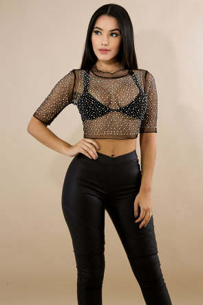 Sheer Rhinestone Stud Crop Top
