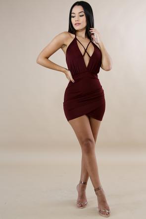 Crossed Silky Dress
