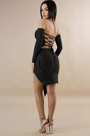 Pinstripe Corset Skirt Set