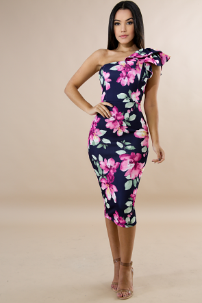 Tiered Floral Body-Con Dress