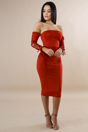 Suede corset Sleeves Body-Con Dress