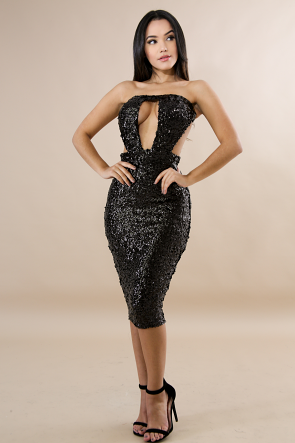 Tube Sequin Body-Con Dress