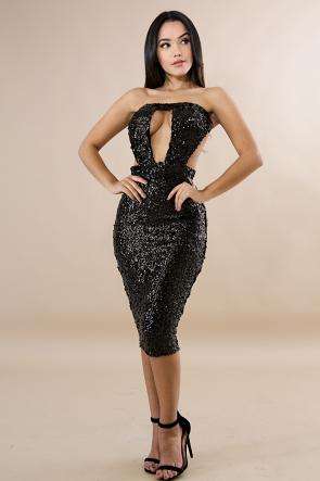 Tube Sequin Body-Con Dress