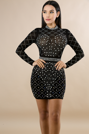 Diamonds Rhinestone Body-Con Dress