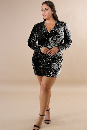 Suede Sequin Body-Con Dress