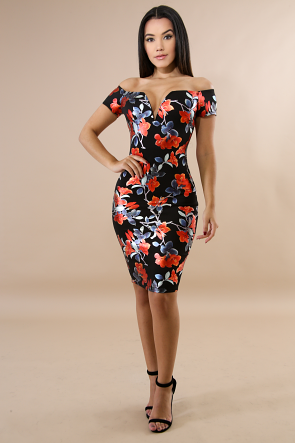 Foiled Floral Body-Con Dress