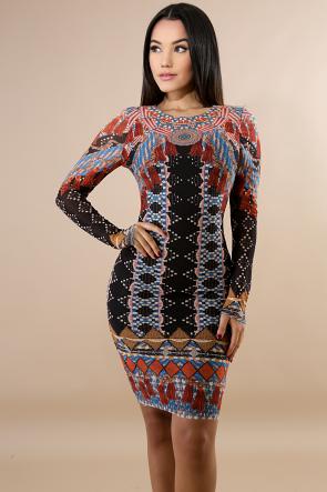 Medallion Tassel Print Body-Con Dress