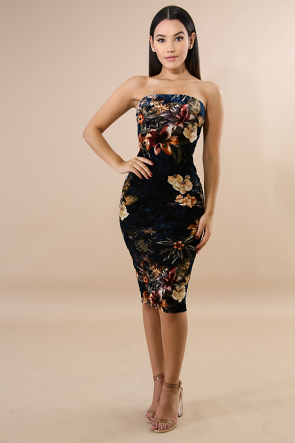 Suede Floral Tube Dress