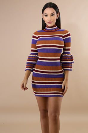 Turtle Neck Knit Body-Con Dress