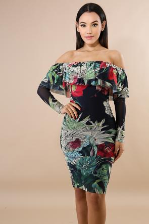 Garden Tiered Body-Con Dress