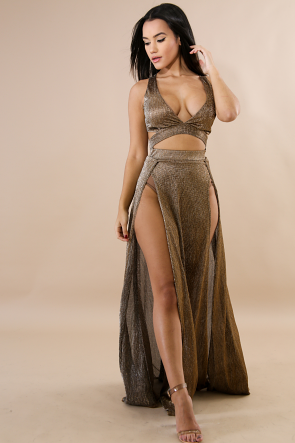 Rustic Slit Maxi Dress