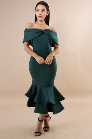 Swirled Bow Body-Con Dress