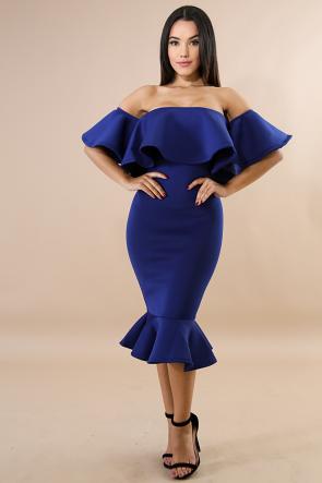 Solid Flare Mermaid Body-Con Dress