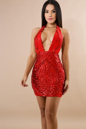 Self Tie Sequin Mini Dress