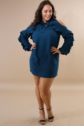 Cold Shoulder Flare Dress