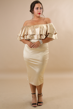 Silk Shine Off Shoulder Body-Con Dress