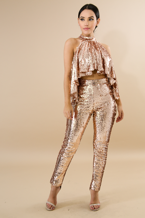 Sequin Flare Pant Set