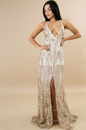 Sequin Sheer Slit Maxi Dress