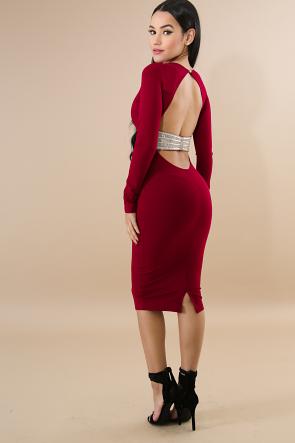 Stud Rhinestone Back Body-Con Dress