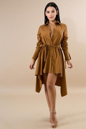 Collard Button Flare Dress