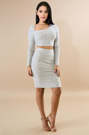 Fleece Knit Skirt Set