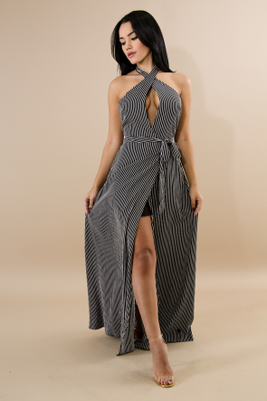 Striped Flare Maxi Dress