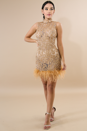 Sequin Feathers Body-Con Dress