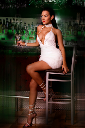 Lapel Faux Fur Mini Dress