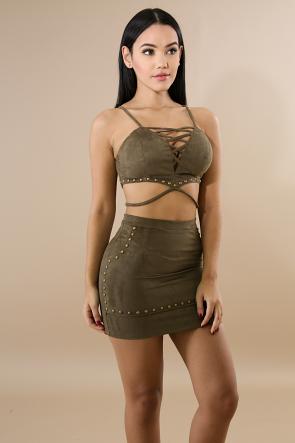 Suede Skirt Mini Set