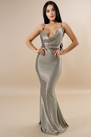 Metallic Cowl Neck Sleeveless Mermaid Dress