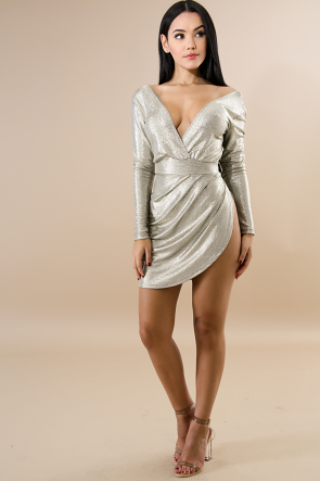 Holographic Long Sleeve Mini Dress