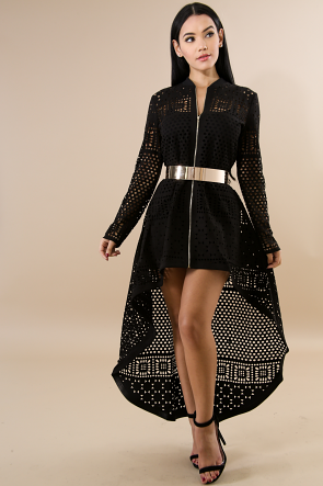 Square Design Long Sleeve Cardigan Dress